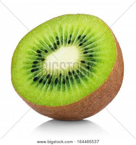Half Of Ripe Kiwi Fruit Isolated On White