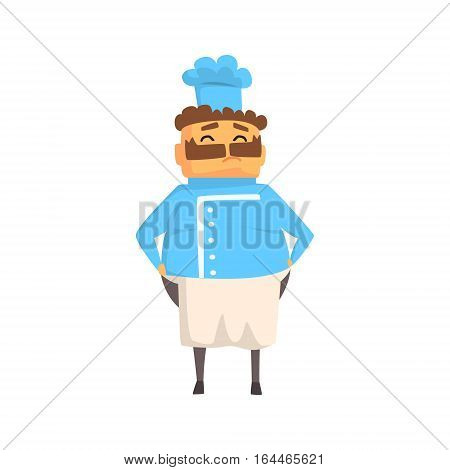 Professional Fat Smiling Cook In Classic Double Breasted Blue Jacket And Toque. Colorful Vector Chef Cartoon Character Cooking In Restaurant Kitchen Illustration.