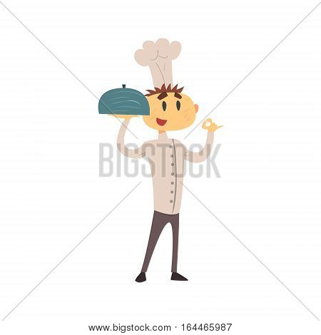 Professional Cook In Classic Double Breasted White Jacket And Toque Showing OK Gesture Holding Covered Dish. Colorful Vector Chef Cartoon Character Cooking In Restaurant Kitchen Illustration.
