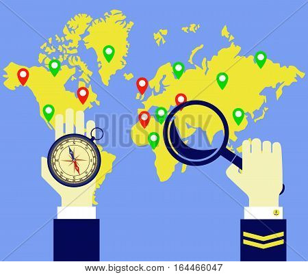 Worldmap compass captain. Captain looks at the map with a lens and compass in hand. Vector image.