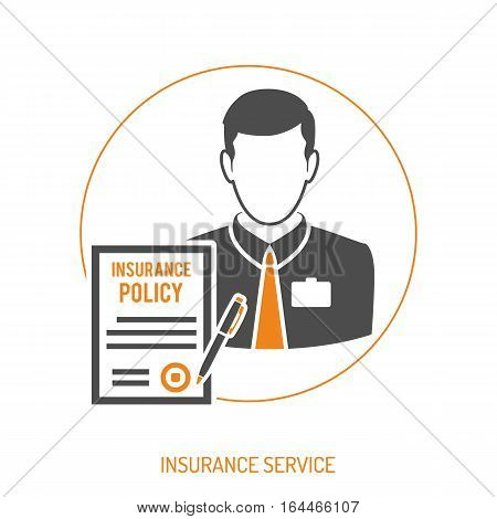 Insurance Agent two color Flat Icon for Web Site, Advertising with Policy and pen. isolated vector illustration