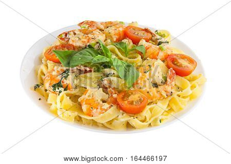 Delicious Fettuccine Pasta With Prawns On White Plate