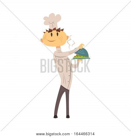 Professional Cook In Classic Double Breasted White Jacket And Toque With Hot Ready Dish. Colorful Vector Chef Cartoon Character Cooking In Restaurant Kitchen Illustration.