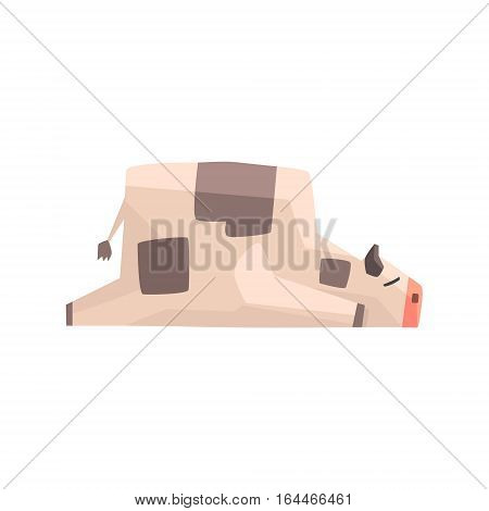 Toy Simple Geometric Farm Cow Laying Sleeping While Browsing, Funny Animal Vector Illustration. Stylized Farming Animal For Video Game Platformer With Geometrical Design.