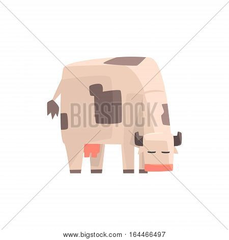 Toy Simple Geometric Farm Cow Browsing, Funny Animal Vector Illustration. Stylized Farming Animal For Video Game Platformer With Geometrical Design.