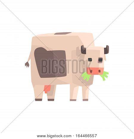 Toy Simple Geometric Farm Cow Browsing With Mouth Full Of Grass, Funny Animal Vector Illustration. Stylized Farming Animal For Video Game Platformer With Geometrical Design.