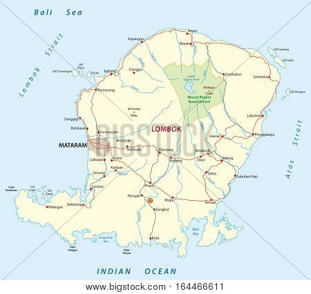 Vector road map of the indonesian island of Lombok