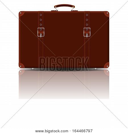 Large old suitcase from brown leather. Vector image.