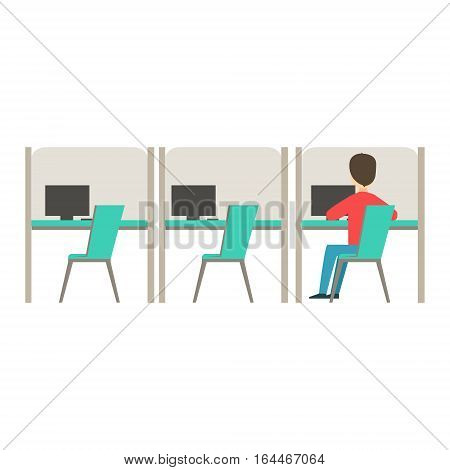 Line Of Similar Cubicles With One Person At Work, Coworking In Informal Atmosphere In Modern Design Office Infographic Illustration. Office Worker In Comfortable Working Environment Simple Cartoon Drawing.
