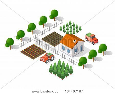 Isometric 3d rural landscape elements set a plan view of a tractor and tree house