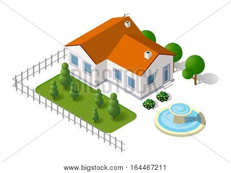 Isometric 3d rural landscape elements set a plan view and tree house