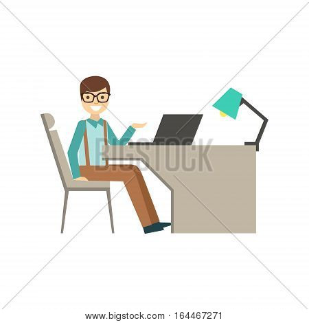 Mn In Glasses Behind His Desk, Coworking Informal Atmosphere In Modern Design Office Infographic Illustration. Office Worker In Comfortable Working Environment Simple Cartoon Drawing.