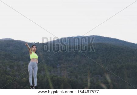 Fitness, Sport And Healthy Lifestyle Concept - Happy Teenage Woman Or Sportswoman Outdoors (blur Ima