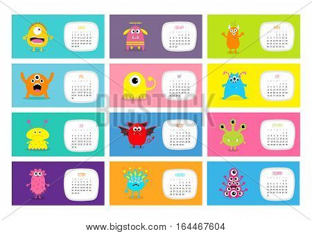 Monster horizontal monthly calendar 2017. Cute funny cartoon character set. All month. Flat design. Vector illustration