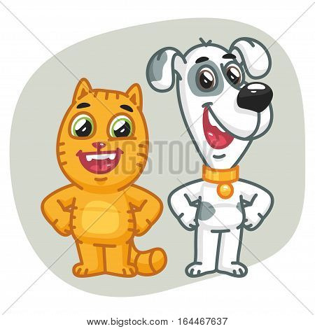 Vector Illustration, Cat and Dog Holding Paws at Waist, Format EPS