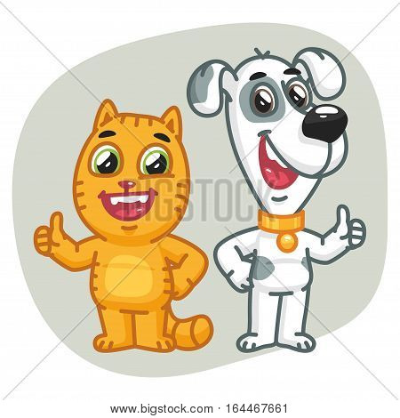 Vector Illustration, Cat and Dog Show Thumbs Up, Format EPS 8