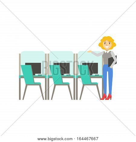 Woman Standing Next To Set Of Similar Cubicles, Coworking In Informal Atmosphere In Modern Design Office Infographic Illustration. Office Worker In Comfortable Working Environment Simple Cartoon Drawing.