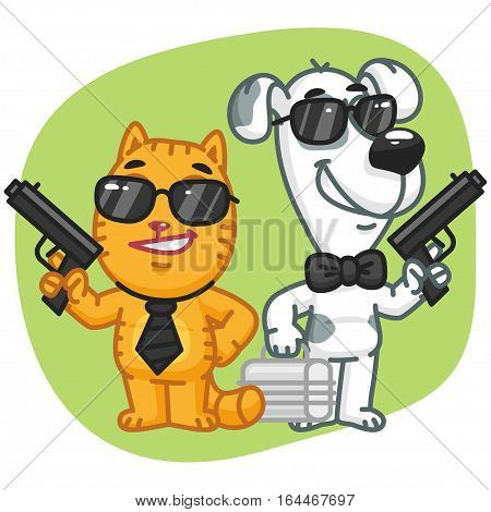 Vector Illustration, Cat and Dog Super Spy Keep Weapons Case, Format EPS 8