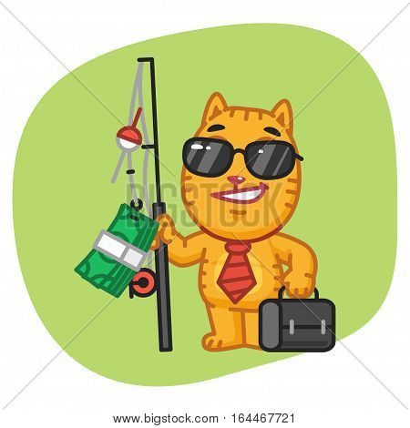 Vector Illustration, Cat Businessman Holding Fishing Rod with Money, Format EPS 8