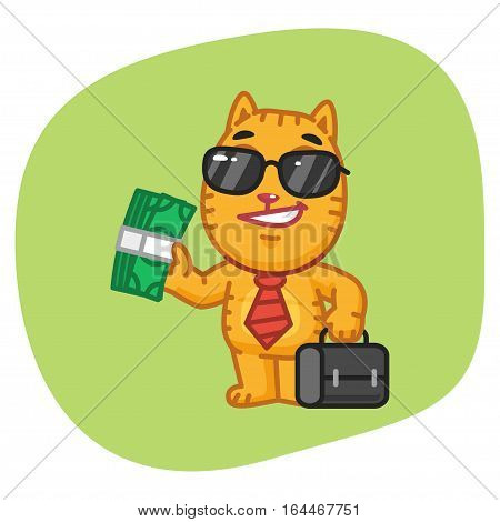 Vector Illustration, Cat Businessman Holding Suitcase and Money, Format EPS 8