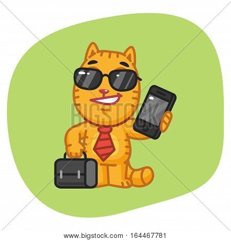 Vector Illustration, Cat Businessman Holding Suitcase and Phone, Format EPS 8