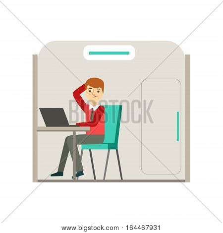Man In Cubicle Puzzled With Problem, Coworking Informal Atmosphere In Modern Design Office Infographic Illustration. Office Worker In Comfortable Working Environment Simple Cartoon Drawing.