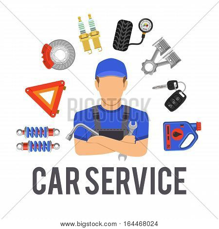 Car Service concept with Flat Icons mechanic and tools. isolated vector illustration