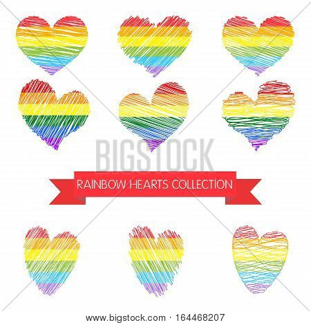 Rainbow heart collection isolated on white background. Gay symbols.