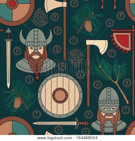 Seamless viking pattern with pine branches. Can be used for graphic design, textile design or web design.