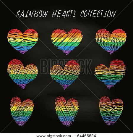 Rainbow heart collection on chalkboard. Gay symbols.