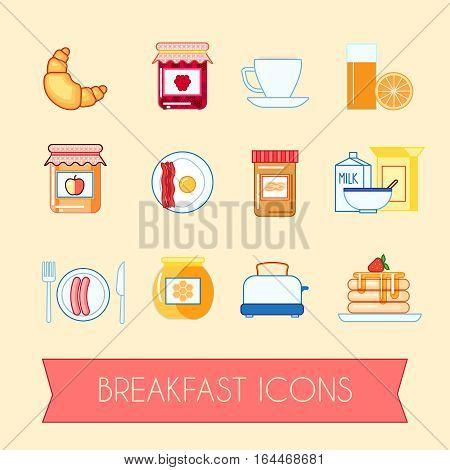 Set of breakfast icons jam, honey, toast, flakes, eggs and bacon