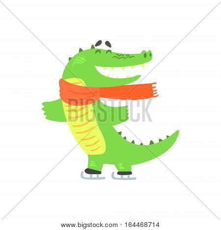 Crocodile Ice Skating, Humanized Green Reptile Animal Character Every Day Activity, Part Of Flat Bright Color Isolated Funny Alligator In Different Situation Series Of Illustrations