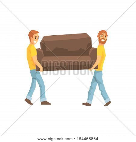 Two Movers Carrying Sofa For Ressetlement, Delivery Company Employees Delivering Shipments Illustration. Part Of Manual Laborer Loading And Bringing Items Cartoon Characters Set.