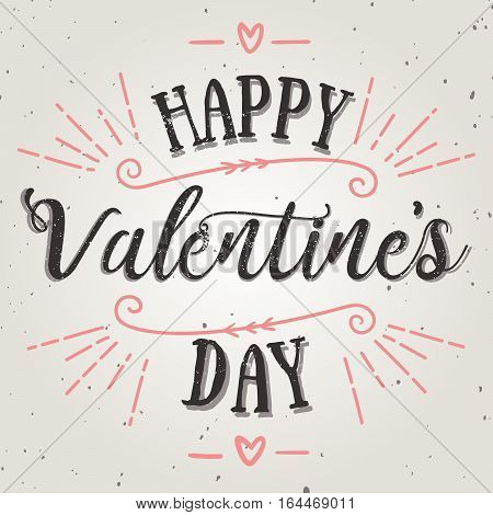 Happy valentine day vector card. Holiday background card poster design