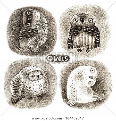 Four cartoon owls in pastel technique. Isolated on white. Original high resolution graphic artwork.