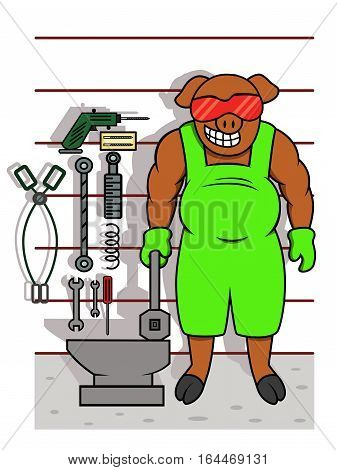 Pig Mechanic with Tools Cartoon Animal Worker Character. Vector Illustration.