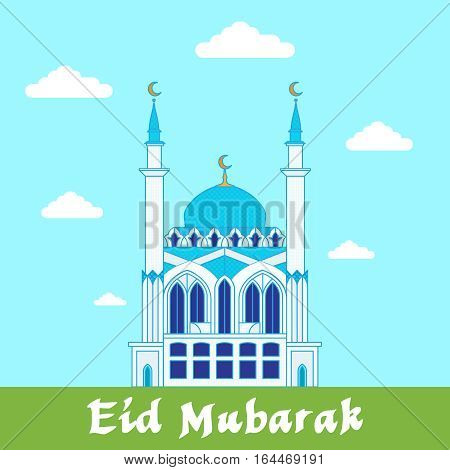 Eid Mubarak greeting card// White mosque on blue and green background design template
