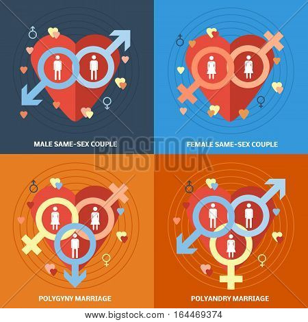 Informative square flat banners set with symbols nontraditional and polygamy relationship. Gay and lesbian couple icons. Vector illustration