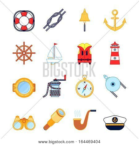 Set of colorful yachting icons. Sailboat and sea sailing symbols.