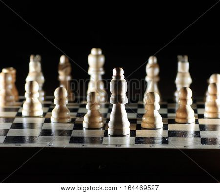 success concept in business -Composition with chessmen on glossy chessboard