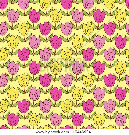 Cute doodle tulips colorful bright geometric seamless pattern