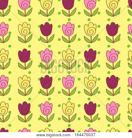 Cute doodle tulips colorful bright seamless pattern