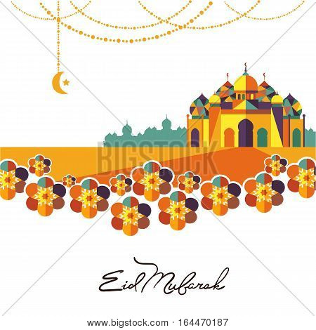 Eid Mubarak greeting card vector illustration. Muslim festival celebration poster, islamic holiday poster with hanging lamp, arabic mosque, calligraphy lettering. Eid Mubarak traditional holy holiday. Template of Eid Mubarak invintation.