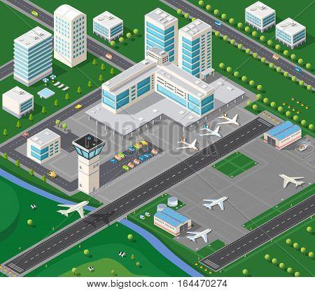 3D isometric industrial landscape of the city airport with the aircraft the runway and the terminal building travel