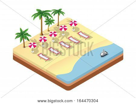 Three-dimensional isometric seascape beach with umbrellas and sunbeds under the palm trees