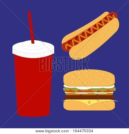 Set of soda water hot dog and classic burger. Lunch isolated background. Fast food. The flat shape. Vector Illustration