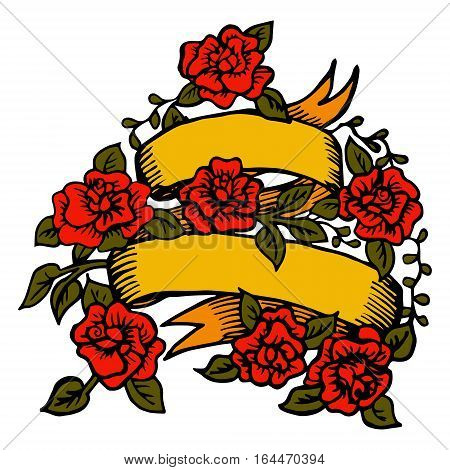 Ribbon with roses. Vector template old school classic  tattoo design