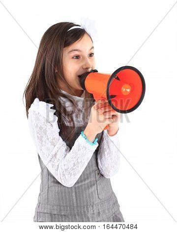 The little girl with the mouthpiece.photo has a empty space for your text