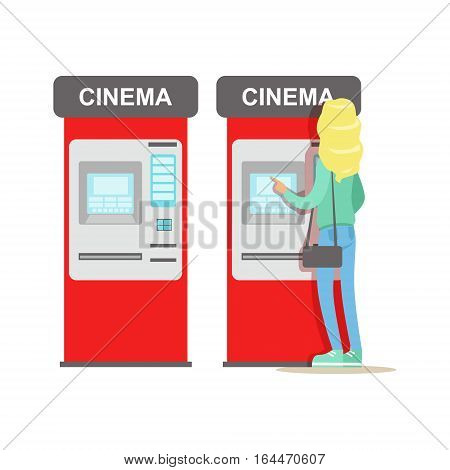 Woman Buying Tickets In Cinema Automatic Vending Machine, Part Of Happy People In Movie Theatre Series. Vector Illustration With Cartoon Characters Indoors At The Movies