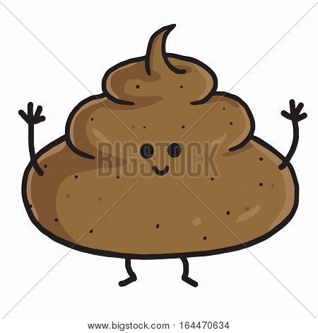 Cute Poop Cartoon Vector Illustration. Clip Art
